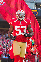 11 November 2012: Linebacker (53) NaVorro Bowman of the San Francisco 49ers runs onto the field during player introductions before the 49ers and the St. Louis Rams play to a 24-24 tie between in an NFL football game at Candlestick Park in San Francisco, CA.