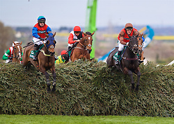 LIVERPOOL, ENGLAND - Thursday, April 6, 2017: Katie Top Cat Henry [L] ridden by Kit Alexander and Mendip Express [R] ridden by David Maxwell jump the Chair, during Randox Health Foxhunters' Open Hunters' Chase (National Course) (Class 2) race on The Opening Day on Day One of the Aintree Grand National Festival 2017 at Aintree Racecourse. (Pic by David Rawcliffe/Propaganda)