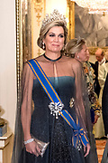 Staatsbezoek van Koning Willem Alexander en Koningin Máxima aan het Verenigd Koninkrijk<br /> <br /> Statevisit of King Willem Alexander and Queen Maxima to the United Kingdom<br /> <br /> Op de foto / On the photo: Staatsbanket in Buckingham Palace waar koningin Maxima het Diadeem / Tiara met de  Stuart diamant draagt<br /> <br /> State banquet in Buckingham Palace where Queen Maxima wears the Diadem / Tiara with the Stuart diamond