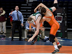 Danny Artusio of the University of Virginia takes down Greg Scott of George Mason in a 165lb weight class bout.  The 2008 Virginia Intercollegiate Wresting Championships were hosted by the University of Virginia at the John Paul Jones Arena in Charlottesville, VA on January 5, 2008.
