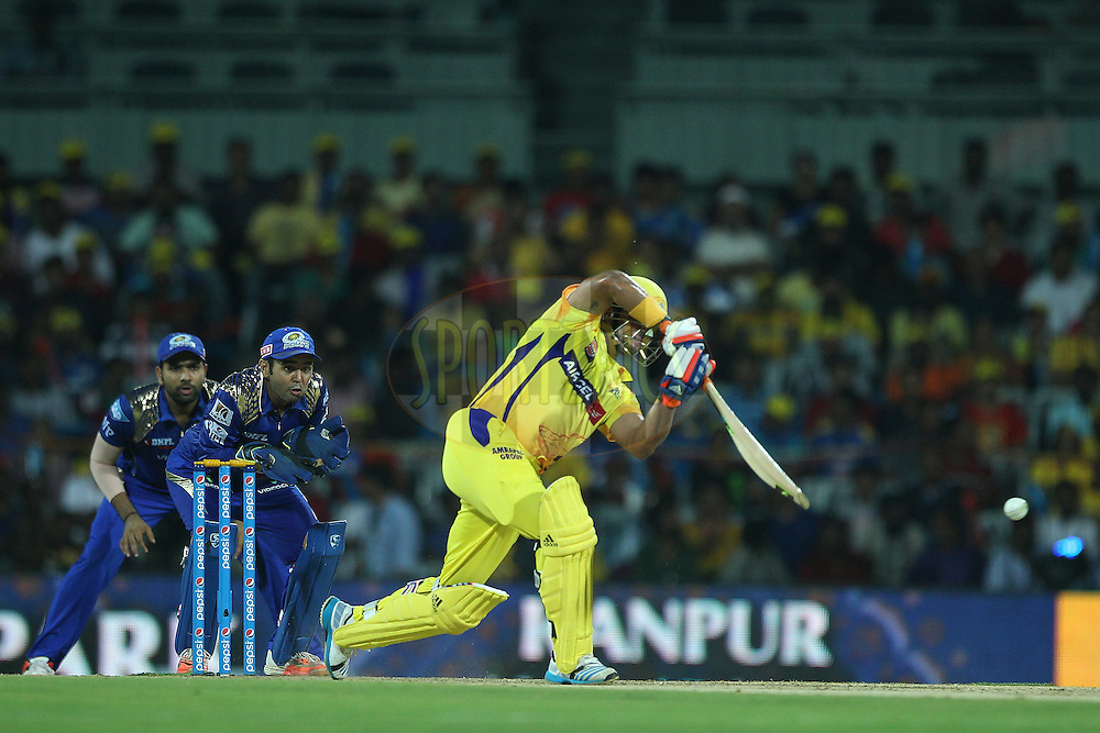 Suresh Raina of the Chennai Superkings  during match 43 of the Pepsi IPL 2015 (Indian Premier League) between The Chennai Superkings and The Mumbai Indians held at the M. A. Chidambaram Stadium, Chennai Stadium in Chennai, India on the 8th May April 2015.<br /> <br /> Photo by:  Ron Gaunt / SPORTZPICS / IPL
