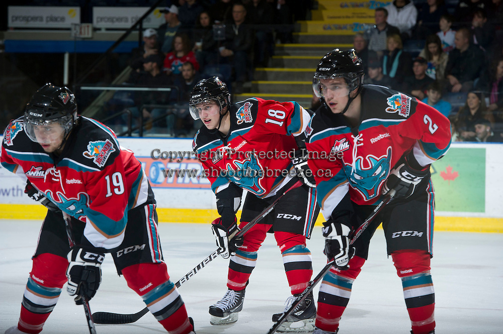 KELOWNA, CANADA - DECEMBER 8: Dylen McKinlay #19, Cody Fowlie #18 and Jesse Lees #2 of the Kelowna Rockets line up against the  Prince George Cougars at the Kelowna Rockets on December 8, 2012 at Prospera Place in Kelowna, British Columbia, Canada (Photo by Marissa Baecker/Shoot the Breeze) *** Local Caption ***