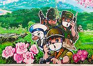 Cartoon fresco at Songdowon international children's camp, in Wonsan, North Korea.
