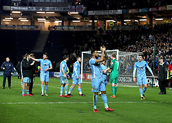 Coventry City players celebrate after the final whistle of the Emirates FA Cup  Fourth Round match at  Stadium MK Milton Keynes.
