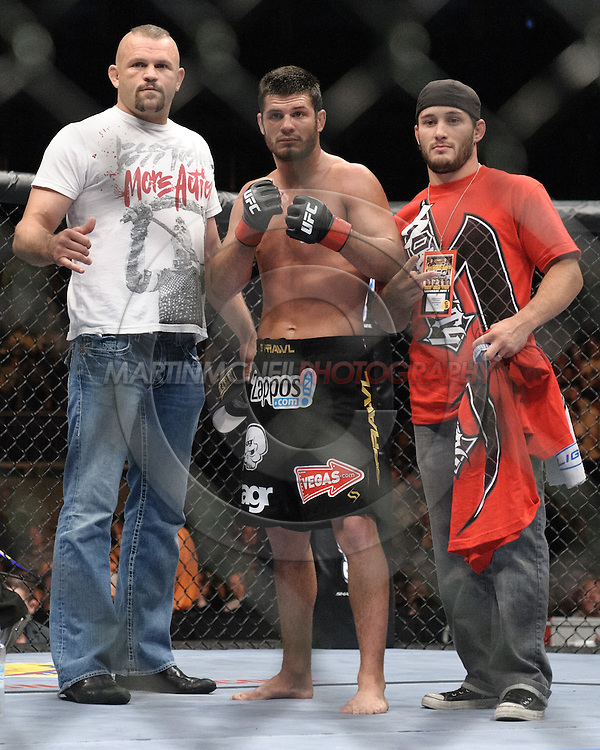 "LONDON, ENGLAND, JUNE 7, 2008: Matt Wiman (center) poses with Chuck Liddell (left) and one of his cornerment after winning his fight at ""UFC 85: Bedlam"" inside the O2 Arena in Greenwich, London on June 7, 2008."