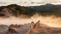 Sunrise at Námafjall geothermal area, Lake Mývatn, North Iceland.