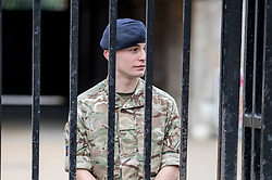 © Licensed to London News Pictures. 16/09/2017. London, UK. A soldier stands guard on Horse Guards Parade following a terror attack in Parsons Green, West London yesterday (Friday) morning. Last night, British Prime Minister Theresa May raised the terror threat level from severe to critical. The terror suspect is still at large. Photo credit : Tom Nicholson/LNP