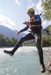 14.07.2015, Ainet, AUT, Eishockey Cracks bei Raftingtour auf der Isel, im Bild Adis Alagic (EC VSV, EBEL) // Hockey Cracks during a rafting tour on the East Tyrolean glacial river Isel. Ainet, Austria on 2015/07/14. EXPA Pictures © 2015, PhotoCredit: EXPA/ Johann Groder