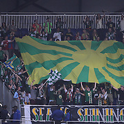 Portland Timbers fans celebrate a goal during the New York Red Bulls Vs Portland Timbers, Major League Soccer regular season match at Red Bull Arena, Harrison, New Jersey. USA. 24th May 2014. Photo Tim Clayton