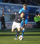 Martin Boyle goes past Kevin Holt - Queen of South v Dundee, SPFL Championship at Palmerston Park <br /> <br /> <br />  - &copy; David Young - www.davidyoungphoto.co.uk - email: davidyoungphoto@gmail.com