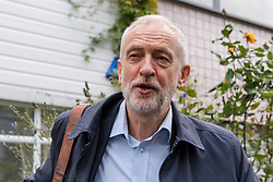 © Licensed to London News Pictures. 25/10/2019. London, UK. JEREMY CORBYN, the Labour Party leader leaves his north London home this morning. Prime Minister, Boris Johnson yesterday wrote to Jeremy Corbyn outlining his proposal to hold a general election on 12 December, which Mr Corbyn has said he will not support unless a no deal Brexit has been ruled out first. Photo credit: Vickie Flores/LNP