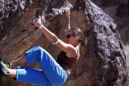Mandi Finger bouldering at the Sad Boulders; Bishop, CA<br />