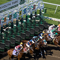 (PPAGE1) Monmouth Park 5/13/2006  Horse bust out of the gate for the start of the 7th race of the day.   Michael J. Treola Staff Photographer.....MJT