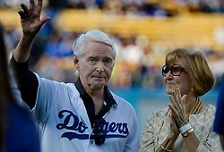 June 10, 2017 - Los Angeles, California, U.S. - Former Los Angeles Dodgers General Manager Fred Clair waves to the crowd before throwing out the ceremonial pitch prior to a Major League baseball game at Dodger Stadium on Saturday, June 10, 2017 in Los Angeles. (Photo by Keith Birmingham, Pasadena Star-News/SCNG) (Credit Image: © San Gabriel Valley Tribune via ZUMA Wire)