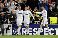 FOOTBALL - CHAMPIONS LEAGUE 2010/2011 - 1/8 FINAL - 2ND LEG - REAL MADRID v OLYMPIQUE LYONNAIS  - 16/03/2011 - PHOTO JEAN MARIE HERVIO / DPPI -  JOY KARIM BENZEMA (RMA) AFTER HIS GOAL