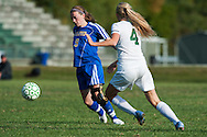 Milton's Adrianna Desranleau (9) plays the ball during the girls soccer game between the Milton Yellowjackets and the Rice Green Knights at Rice Memorial High School on Saturday afternoon October 3, 2015 in South Burlington. (BRIAN JENKINS/ for the FREE PRESS)