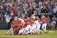 6/25/08 Omaha, NEB  Fresno State dog-piles after winning the College World Series at Rosenblatt Stadium.Photo by Chris Machian