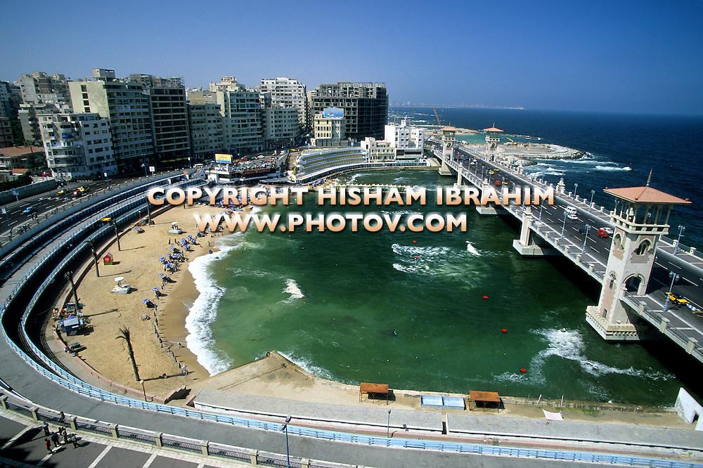 Stanley Beach and Bridge, Alexandria, Egypt