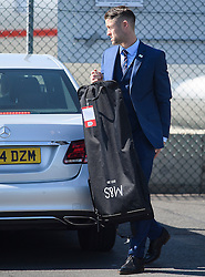 © Licensed to London News Pictures. 06/06/2016. Luton, UK. England defender TIM CAHILL holding his bags as he arrives at the airport, before Members of England national football squad board a plane at Luton airport in Bedfordshire, England, to head for their training camp in France, ahead of the start of the UEFA Euro 2016 championships.  Photo credit: Ben Cawthra/LNP