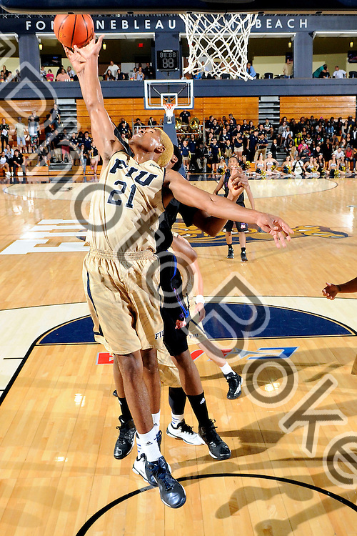 2014 November 21 - FIU's Larry Dennis (21). <br /> Florida International University defeated Florida Memorial, 74-48, at US Century Bank Arena, Miami, Florida. (Photo by: Alex J. Hernandez / photobokeh.com) This image is copyright by PhotoBokeh.com and may not be reproduced or retransmitted without express written consent of PhotoBokeh.com. &copy;2014 PhotoBokeh.com - All Rights Reserved