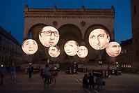 """05 JUN 2015, MUNICH/GERMANY:<br /> Installation der entwicklungspolitischen Lobby- und Kampagnenorganisation ONE, mit Riesenballons, auf denen die Koepfe der G7 Regierungschefs abgebildet sind und mit dnen """"mehr als heisse Luft"""" beim Kampf gegen extreme Armut gefordert wird, Odenonsplatz<br /> IMAGE: 20150605-03-014<br /> KEYWORDS: München, ONE.org, Kampagne, Politiker, Gesichter, Aktion, Demonstration, Demo"""