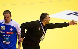 Uros Zorman of Slovenia and Boris Denic, head coach of Slovenia during handball match between Norway and Slovenia in Preliminary Round of 10th EHF European Handball Championship Serbia 2012, on January 16, 2012 in Millennium Center, Vrsac, Serbia. Norway defeated Slovenia 29-28. (Photo By Vid Ponikvar / Sportida.com)
