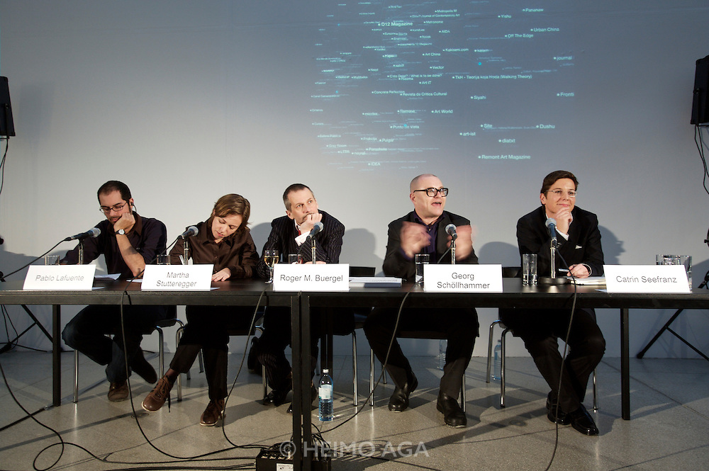 """Press conference and presentation of documenta 12 Magazine Nr. 1 """"Modernity?"""" at Secession, Vienna. From left: Pablo Lafuente, journalist Afterall magazine; Martha Stutteregger, designer of magazine Nr.1; Roger M. Buergel, artistic director of documenta 12; Georg Schoellhammer, Head and editor in chief documenta magazines; Catrin Seefranz, director of communications (press speaker)."""