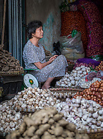 HANOI, VIETNAM - CIRCA SEPTEMBER 2014:  Portrait of Vietnamese woman selling vegetables in the streets of Hanoi, Vietnam.