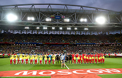 A general view as Colombia players and England players line up before the FIFA World Cup 2018, round of 16 match at the Spartak Stadium, Moscow.