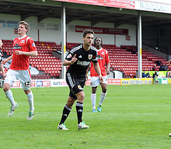Bristol City's Sam Baldock battles for the ball celebrates - Photo mandatory by-line: Joe Meredith/JMP - Mobile: 07966 386802 12/04/2014 - SPORT - FOOTBALL - Walsall - Banks' Stadium - Walsall v Bristol City - Sky Bet League One