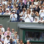 LONDON, ENGLAND - JULY 16: Mirka Federer, wife of Roger Federer watches the Gentlemen's Singles final during the Wimbledon Lawn Tennis Championships at the All England Lawn Tennis and Croquet Club at Wimbledon on July 16, 2017 in London, England. (Photo by Tim Clayton/Corbis via Getty Images)