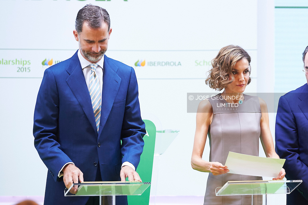King Felipe VI of Spain and Queen Letizia of Spain attend the Investigation Scholarships of Iberdrola Foundation at Casa de America on July 9, 2015 in Madrid, Spain.