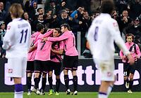 L'esultanza per il gol di Alessandro Matri ( Juventus ) mentre Alberto Gilardino e Stevan Jovetic (Fiorentina) osservano<br /> Goal celebration<br /> Torino 25/10/2011 Juventus Stadium<br /> Serie A 2011/2012 <br /> Football Calcio Juventus Fiorentina<br /> Foto Insidefoto Giorgio Perottino