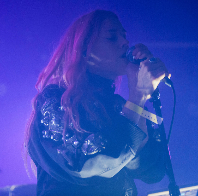 Mary Charteris of The Big Pink performing at The Glass House in Pomona April 12, 2017, opening for Crystal Castles.