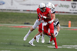 02 September 2017:  Anthony Fowler gets stopped after a gain by Isaak Newhouse during the Butler Bulldogs at  Illinois State Redbirds Football game at Hancock Stadium in Normal IL (Photo by Alan Look)