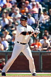 May 30, 2010; San Francisco, CA, USA;  San Francisco Giants first baseman Travis Ishikawa (10) at bat against the Arizona Diamondbacks during the ninth inning at AT&T Park.  San Francisco defeated Arizona 6-5 in 10 innings.