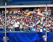 Italian Alessia Trost clears the bar during the women's High Jump at the Sainsbury's Birmingham Grand Prix IAAF Diamond League Meeting at Alexandra Stadium, Birmingham, West Midlands, England on June  07  2015. (Steve Flynn/Image of Sport)