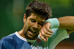 DOHA, Jan. 7, 2017  Fernando Verdasco of Spain reacts during the men's singles semifinal against Novak Djokovic of Serbia at the ATP Qatar Open tennis tournament in the Khalifa International Tennis Complex in Doha, capital of Qatar, on Jan. 6, 2017. Fernando Verdasco lost 1-2.  wll) (Credit Image: © Nikku/Xinhua via ZUMA Wire)