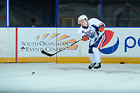 PENTICTON, CANADA - SEPTEMBER 9: Kailer Yamamoto #56 of Edmonton Oilers takes a shot during morning ice on September 9, 2017 at the South Okanagan Event Centre in Penticton, British Columbia, Canada.  (Photo by Marissa Baecker/Shoot the Breeze)  *** Local Caption ***