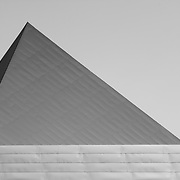 Black and white photography of Denver Art Museum's Frederic C. Hamilton building designed by architect Daniel Libeskind