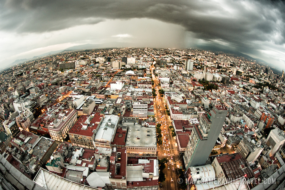 View looking south over Mexico City from the 44th floor of the Torre Latinoamericana building.