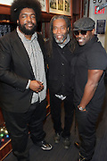 """New York, NY- December 5: The ROOTS's ?uestlove, Recording Artist Bobby McFerrin and Black Thought backstage at """" ?uestlove  eats…in Concert: A Night of Food and Music """" produced by Jill Newman Productions held at the Blue Note on December 5, 2011 in New York City. Photo Credit: Terrence Jennings"""