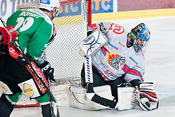 Michal Fikrt (HK Acroni Jesenice, #37) during ice-hockey match between HDD Tilia Olimpija and HK Acroni Jesenice in second game of Final at Slovenian National League, on April 3, 2011 at Hala Tivoli, Ljubljana, Slovenia. (Photo By Matic Klansek Velej / Sportida.com)