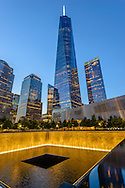 9 -11 Memorial, designed by Michael Arad,  1 WTC, the tallest skyscraper in the Western Hemisphere, designed by David Childs, Manhattan, New York City, New York