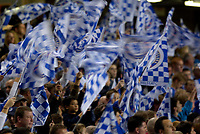 Photo: Daniel Hambury.<br />Chelsea v Barcelona. UEFA Champions League, Group A. 18/10/2006.<br />Chelsea's fans waving flags before the game.
