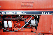 USA, Idaho, Owyhee County, On the Collet Farm near Grand View, Engine of an old International Harvester Tractor