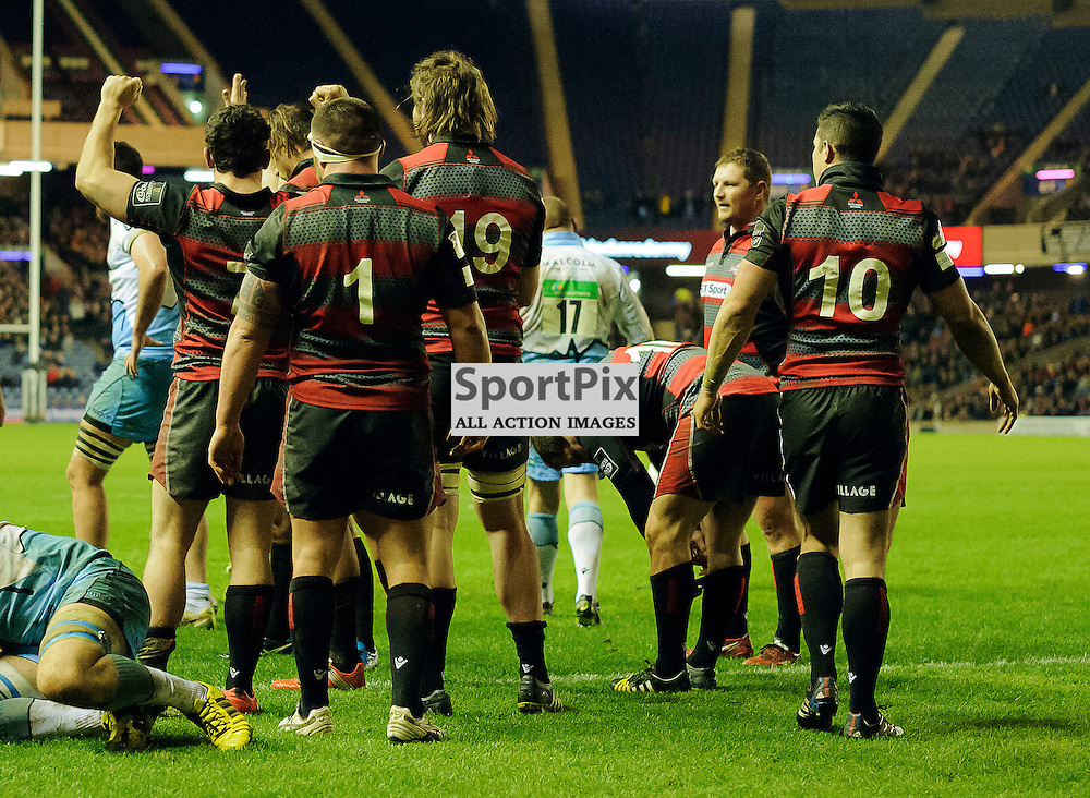 27/12/2015, Murrayfield, Scotland, Edinburgh players celebrate at the final whistle during the Edinburgh Rugby v Glasgow Warriors Guinness PRO12 & 1872 Cup game, ......(c) COLIN LUNN | SportPix.org.uk