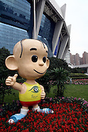 OFFICIAL MASCOT SUNSHINE SANMAO BEFORE SPECIAL OLYMPICS WORLD SUMMER GAMES SHANGHAI 2007..SPECIAL OLYMPICS IS AN INTERNATIONAL ORGANIZATION DEDICATED TO EMPOWERING INDIVIDUALS WITH INTELLECTUAL DISABILITIES..SHANGHAI , CHINA , SEPTEMBER 30, 2007.( PHOTO BY ADAM NURKIEWICZ / MEDIASPORT )..