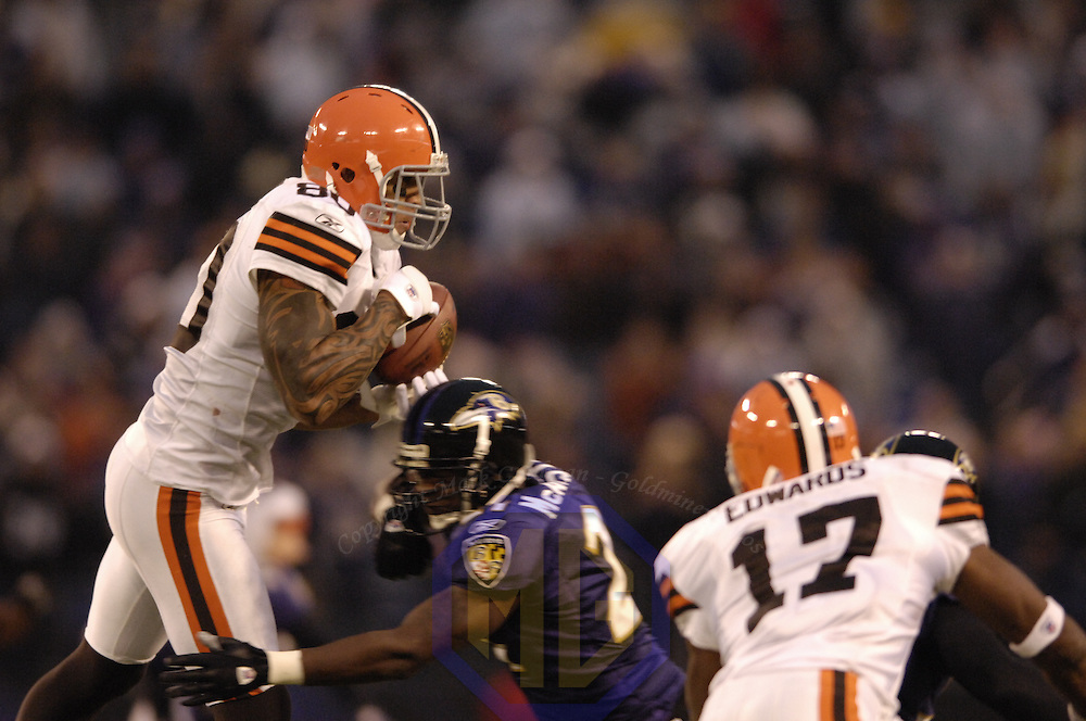18 November 2007:  Cleveland Browns tight end Kellen Winslow (80) catches a pass for an 11-yard gain in overtime against Baltimore Ravens cornerback Chris McAlister (21) on November 18, 2007 at M&T Bank Stadium in Baltimore, Maryland. The Ravens were sent to their 4th consecutive loss with a 33-30 overtime time win by the Browns.