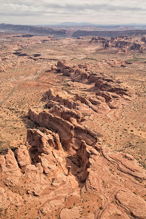Aerial photograph of sandstone cliffs and towers in Arches National Park, Utah
